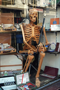 A wooden skeleton in an art supply store