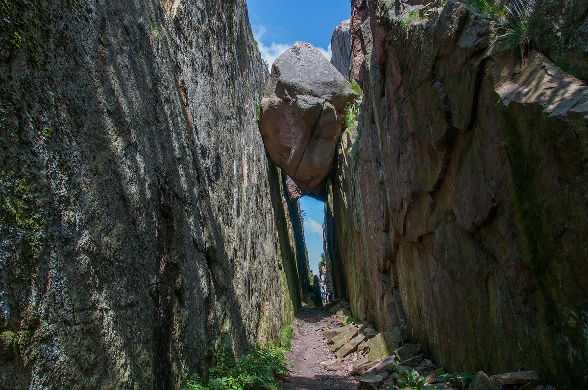 A Suspended Boulder in Fjallbacka, Sweden