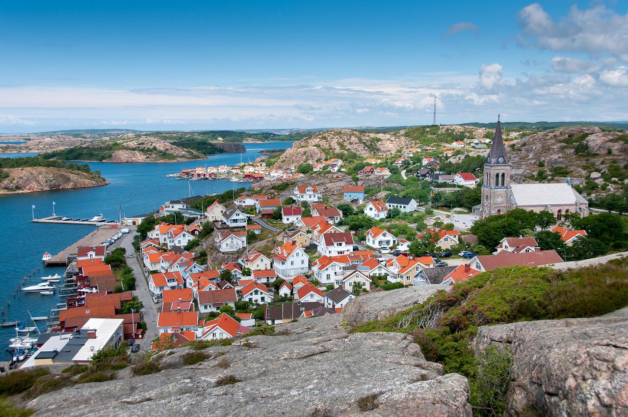 Overlooking view of Fjallbacka skyline in Sweden