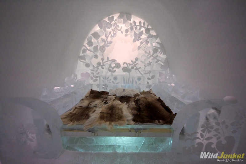 Inside the ice hotel suite
