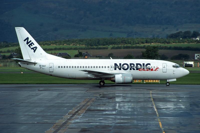 "SE-DLO Boeing 737-3Y0 ""Nordic East Airlines"" c/n 23748 Glasgow/EGPF/GLA 27-09-95 (35mm slide)"