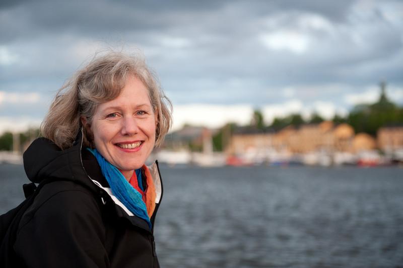 Scandanavian woman on the pier, Stockholm