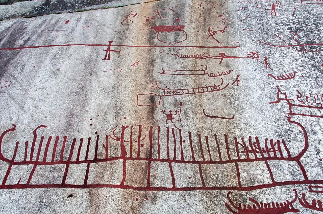 Chariot rock art carvings in Tanum Rock Art Museum, Sweden