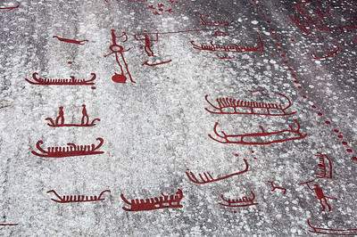 Rock art carvings in Tanum Rock Art Museum in Sweden