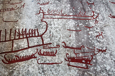 Detailed shot of rock art carvings in Tanum Rock Art Museum in Sweden