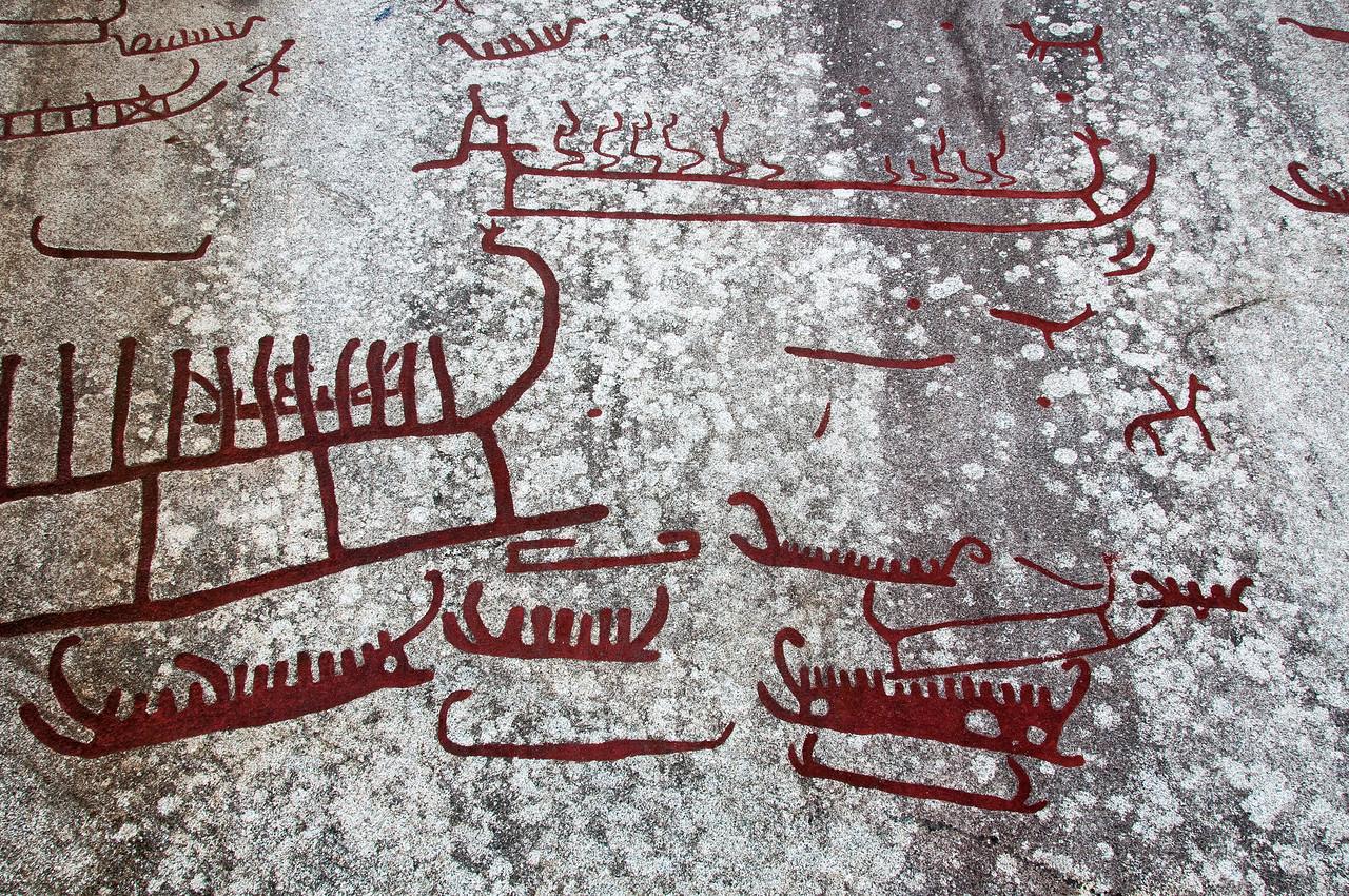 Detailed shot of rock art carvings in Tanum Rock Art Museum in Sweden
