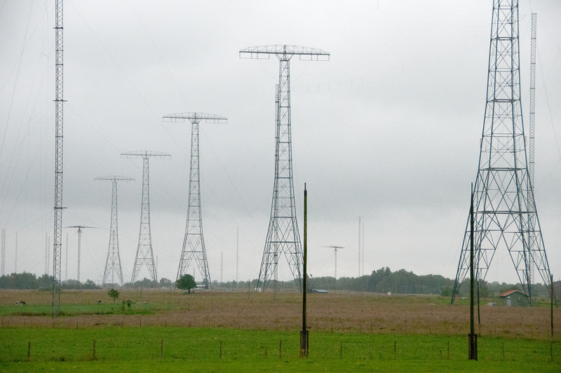 The high steel towers at Varberg Radio Station in Grimeton, Sweden
