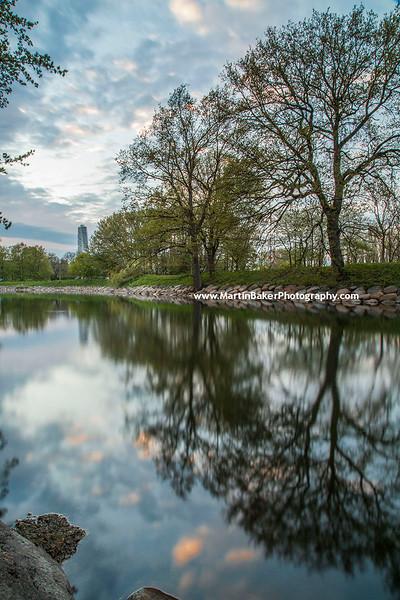 Slottsparken (Castle Park) and Turning Torso, Malmö, Sweden.