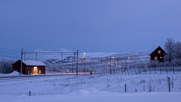 cold dusk along tracks Abisko
