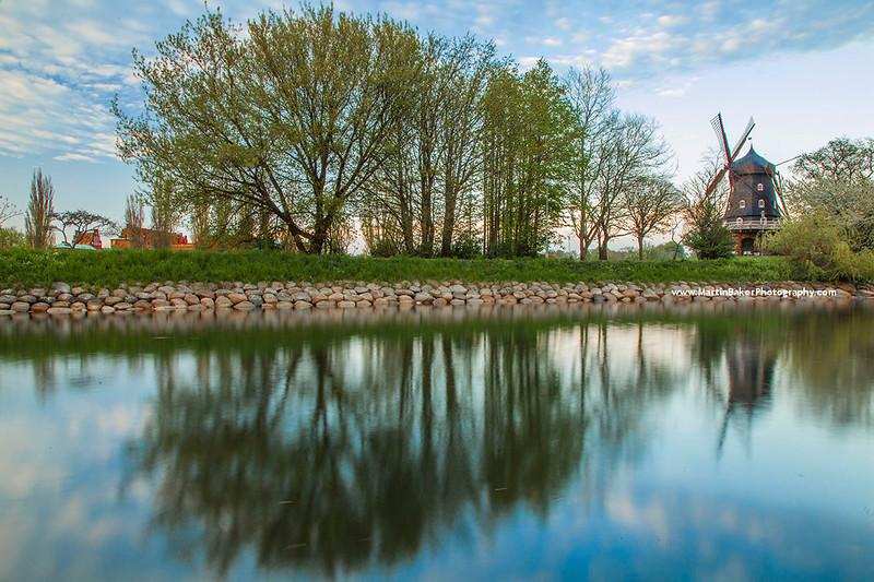 Slottsmöllan Windmill and Slottsparken (Castle Park), Malmö, Sweden.