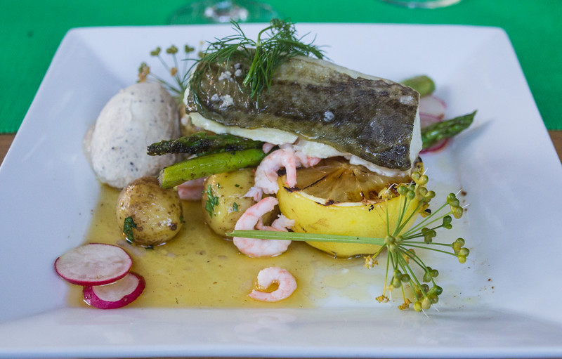 Artfully Presented Cod Served for Dinner at Nässlingen Resort (©simon@sixlegswilltravel.com)