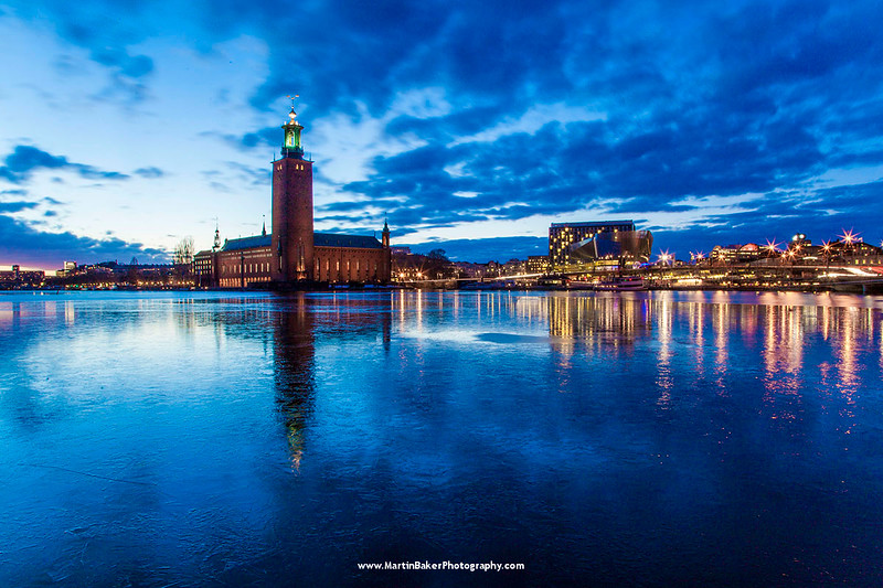 Stadshuset (City Hall) and Lake Mälaren, Stockholm, Sweden.