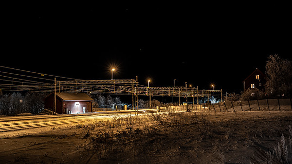 cold nightfall along tracks Abisko