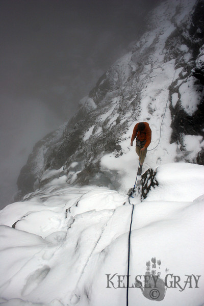 The snow became deep in some areas and small waterfall crossings added sweat to our shoes. A fall here would certainly mean death. The Eiger Nordwand has disappeared around the corner but the ferocity of the face still lingers in my mind. I get a strong urge to attempt it and have began a dangerous transition in my mind. Need I climb the wall that has claimed so many?