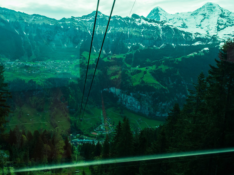 Lauterbrunnen (at the bottom) and Wengen (next tier up) from the cable car