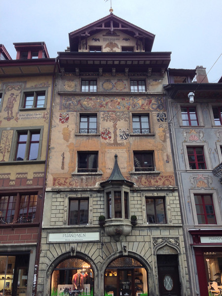 One of the many muraled buildings in Lucerne.