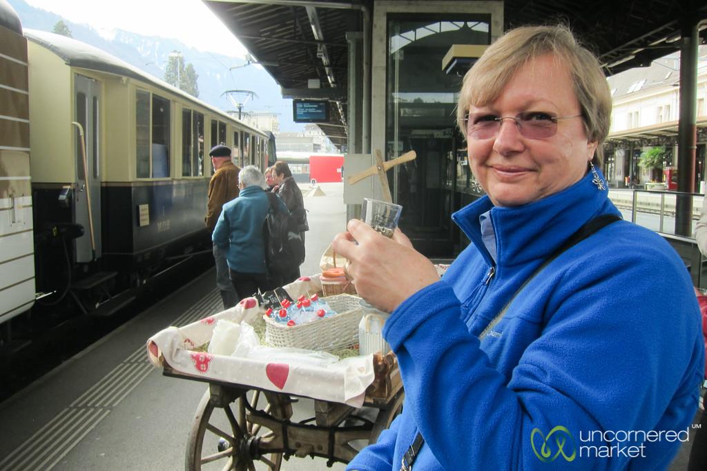 Cheese Train Begins with Wine - Montreux, Switzerland