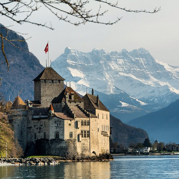 Château de Chillon on the shores of Lake Geneva with snow-covered Rochers de Naye in the distance. Montreux, you are spoiling us. #switzerland via Instagram http://ift.tt/1Dt4Z0V