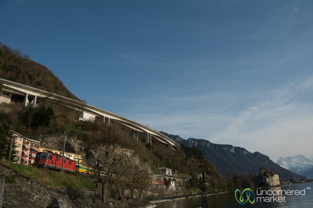Swiss Train Along Lake Geneva - Montreux, Switzerland