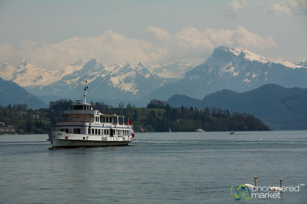 Boat and Swans on Lake Lucerne - Lucerne, Switzerland
