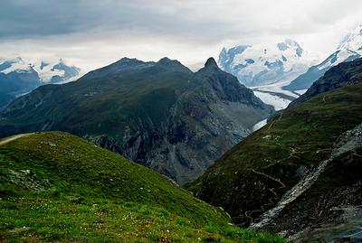 Trail from Schwarzsee to Zermatt.  Gorner Glacier in distance.