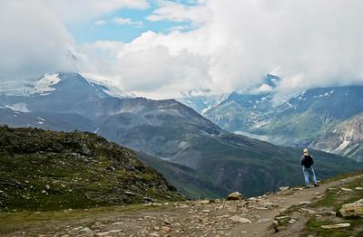 Trail from Gornergrat to Zermatt, with hiker