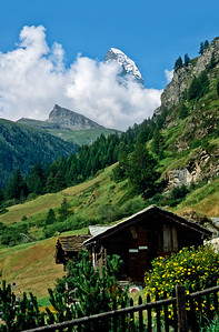 Chalet near Zermatt with the Matterhorn in the background