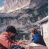 While we drank wine on the balcony of the hut, we watched young climbers in the face of the Altman