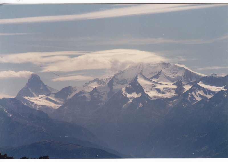 view into the Matterhorn and the Weisshorn