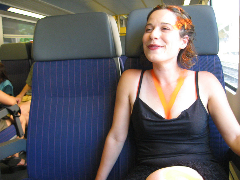 Terri on the train, headed for Zurich Street Parade