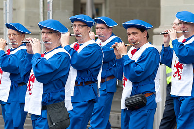 Musical band playing the flute in Bern, Switzerland