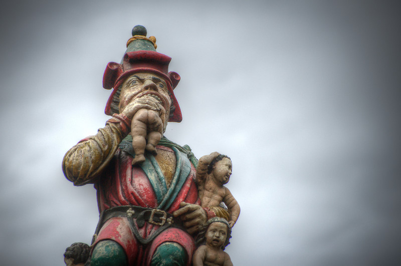Kindlifresser, a 500-year-old statue, The Child Eater of Bern Switzerland