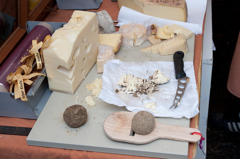 Different types of cheese for tasting in Bern, Switzerland