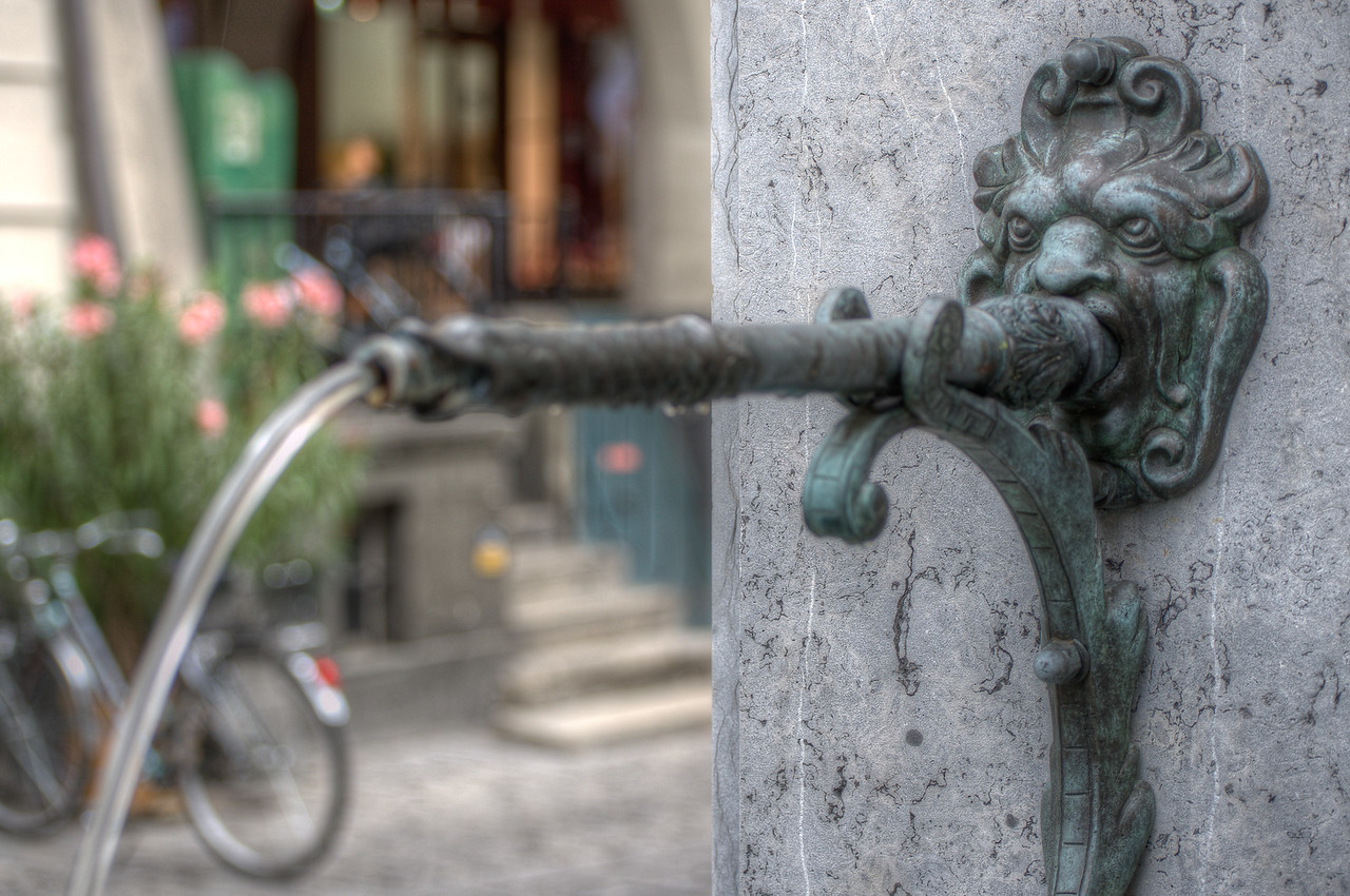 Ornamental water fountain in Bern, Switzerland