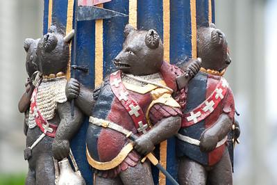 Bear statue at Ogre Fountain in Bern, Switzerland