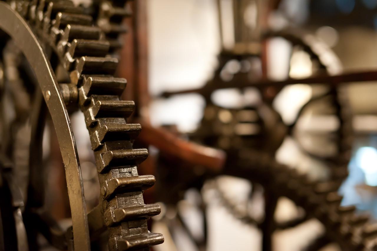 Wheels inside Zytglogge clock tower in Bern, Switzerland