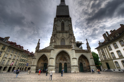 The Bern Minster facade in Bern, Switzerland