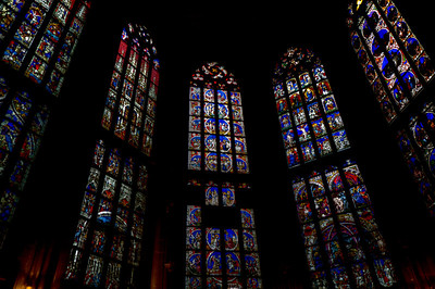 Stained glass windows inside Bern Minster in Bern, Switzerland