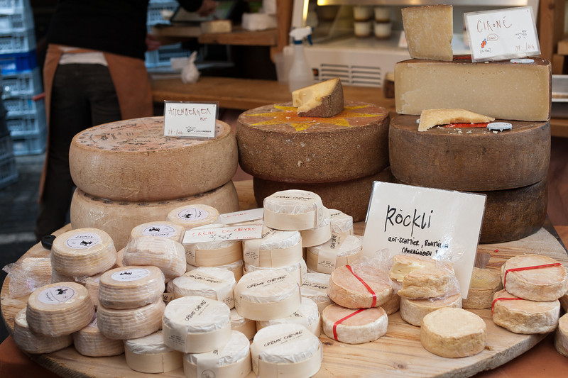 Different types of cheeses in Bern, Switzerland