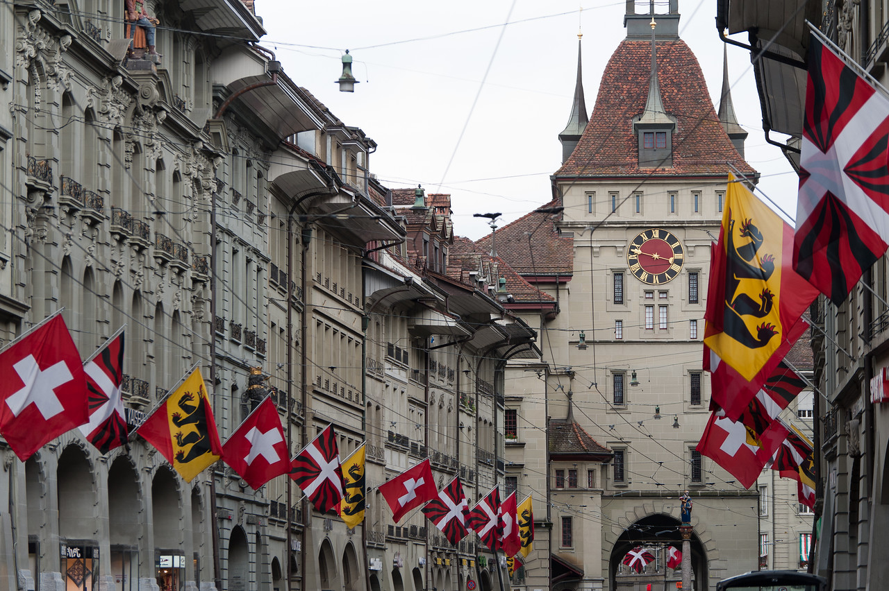The Zytglogge clock tower and the city's medieval covered shopping promenades - Bern, Switzerland
