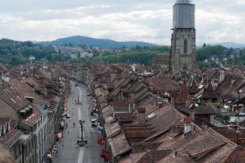 Aerial view of Marktgasse in Old City of Bern, Switzerland