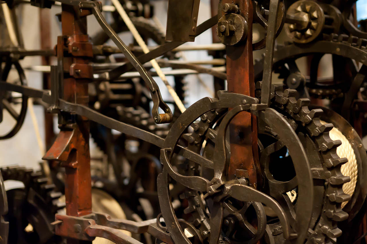 Operating mechanisms inside Zytglogge Clock Tower in Bern, Switzerland