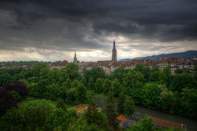 Aerial view of skyline of Bern, Switzerland
