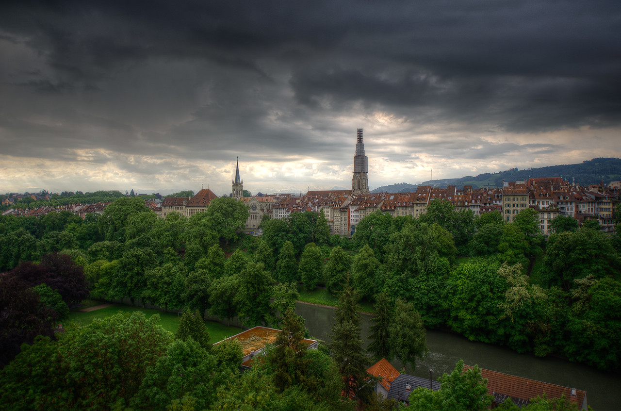 Aerial view of skyline of Bern, Switzerland