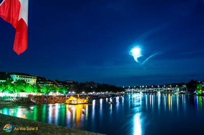Night on the Rhine River in Basel, Switzerland
