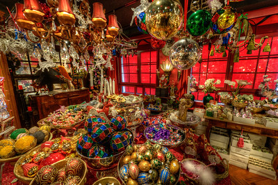 Inside a Christmas decor shop in Basel, Switzerland