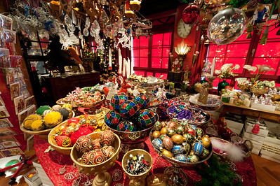 Christmas decor and accessories at a shop in Basel, Switzerland