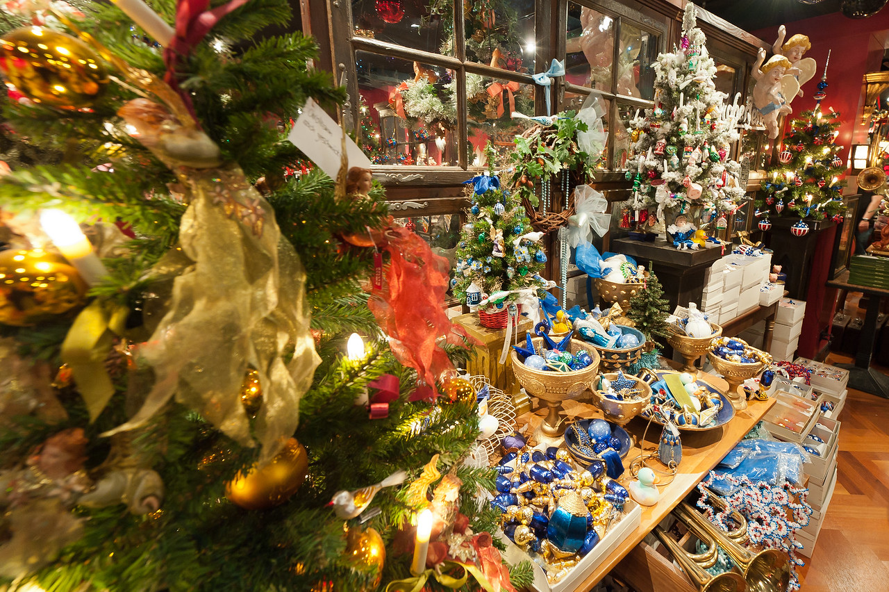 Christmas decor on display at a shop in Basel, Switzerland