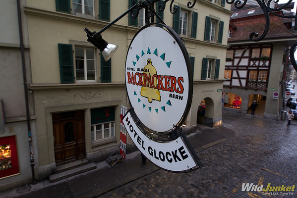 Sign board for the Hotel Glocke Backpackers