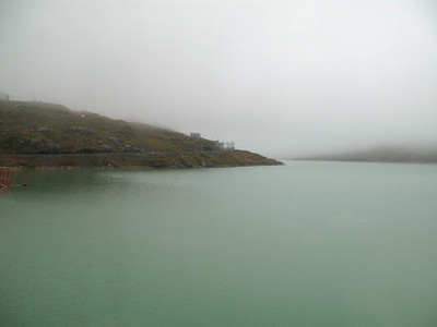 Lago Bianco lake at the Bernina pass